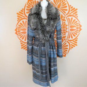 Chico's Blue & Gray Sweater Coat with Fur Collar